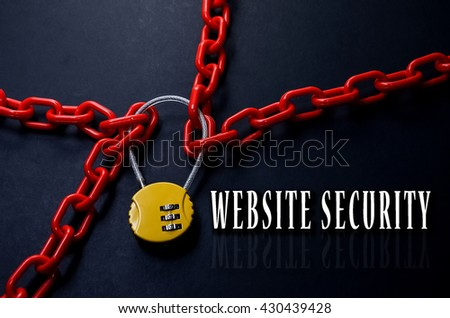 Safety Concept. Red chain and yellow padlock with number combination on blackboard with word Website Security. - stock photo