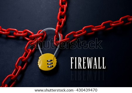 Safety Concept. Red chain and yellow padlock with number combination on blackboard with word Firewall. - stock photo