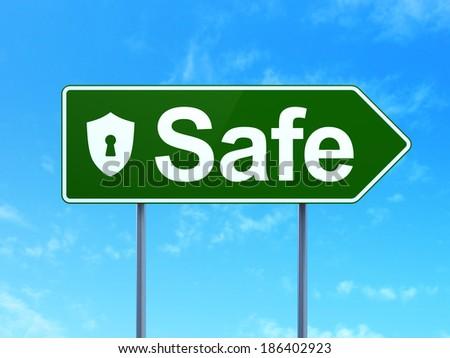 Safety concept: Safe and Shield With Keyhole icon on green road (highway) sign, clear blue sky background, 3d render