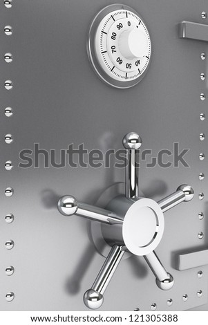 Safety concept. Steel Bank safe extreme closeup - stock photo