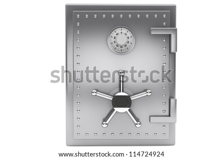 Safety concept. Steel Bank safe on a white background. - stock photo