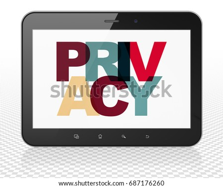 Safety concept: Tablet Pc Computer with Painted multicolor text Privacy on display, 3D rendering