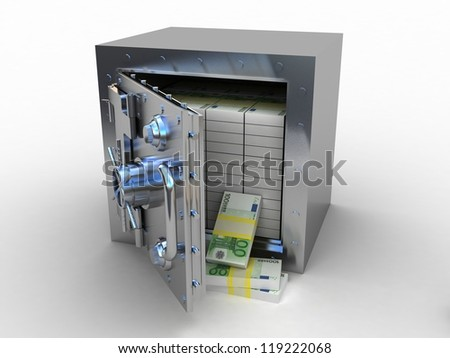 Safety deposit box and euro money on white background, 3D images - stock photo