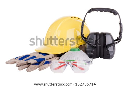 Safety equipment or PPE - personal protective equipment - with hard hat, safety glasses, gloves, face mask and earmuffs isolated on white - stock photo