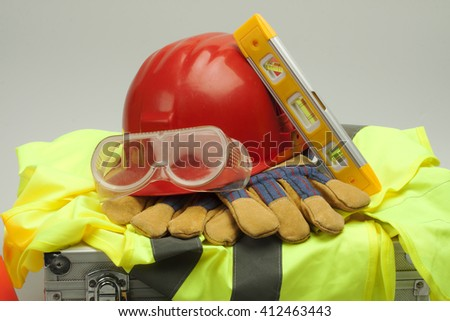 Safety equipment set, close up on dove grey