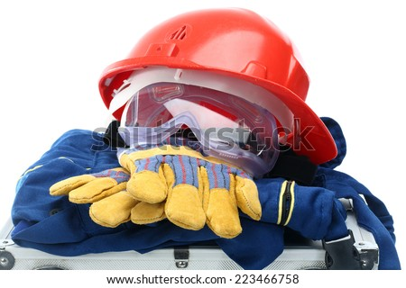 Safety equipment set, close up on white - stock photo