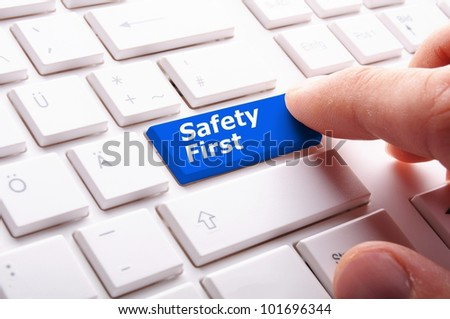 safety first concept with key showing risk danger or insurance - stock photo