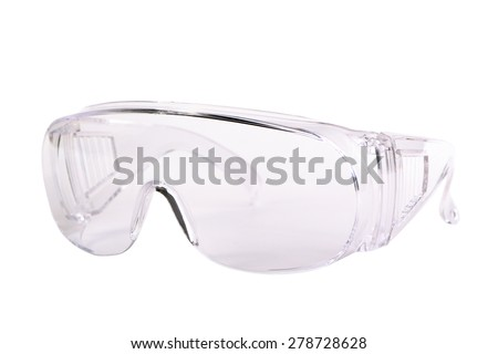 Safety glasses isolated on white - stock photo