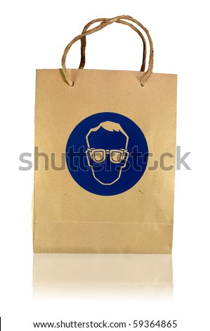 safety glasses paper bag - stock photo