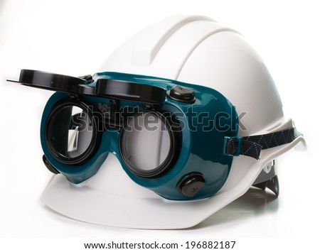 Safety hat and goggles glasse isolated with white background