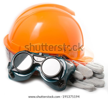 Safety hat and goggles glasse isolated with white background  a - stock photo