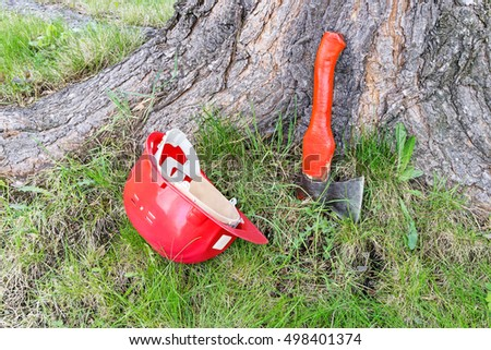 Safety helmet and ax are on grass near base of tree