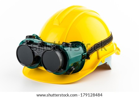 Safety helmet and goggles glasses isolated on white background - stock photo