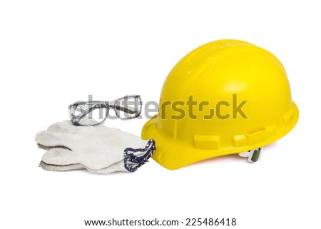 Safety helmet, eye glasses and gloves on white with clipping path