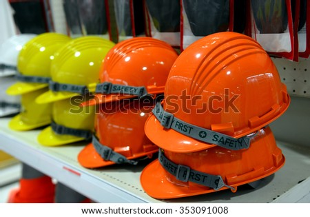 safety helmet for sale at the store - stock photo