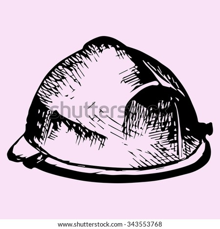 safety helmet, hard hat, doodle style, sketch illustration, hand drawn, raster - stock photo