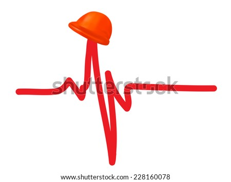 Safety helmet on cardiogram as health and safety concept - stock photo