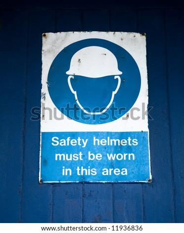 Safety Helmet Warning Sign - stock photo