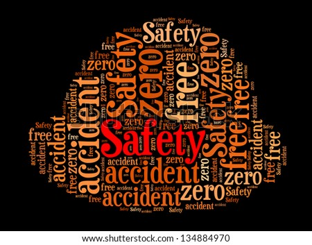 safety info-text graphics and arrangement concept in safety helmet design (word cloud) - stock photo