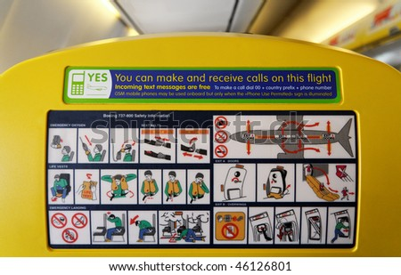 Safety Informations panel on a boeing - stock photo