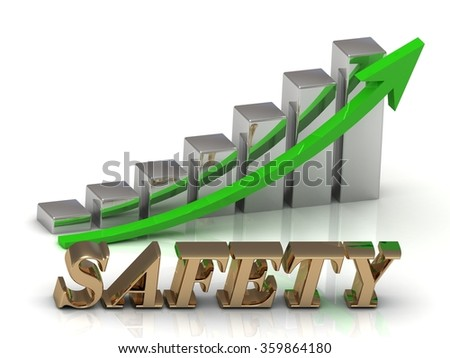 SAFETY- inscription of gold letters and Graphic growth and gold arrows on white background