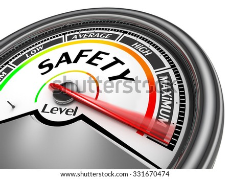 Safety level to maximum concept meter, isolated on white background - stock photo