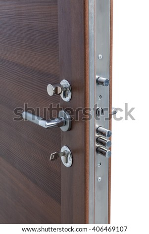 safety lock on a wooden door