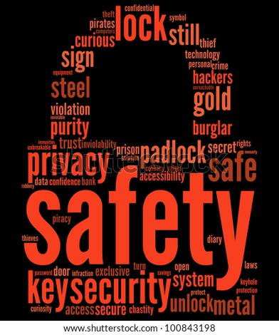 safety lock shaped tag cloud for security concept / padlock tagcloud - stock photo