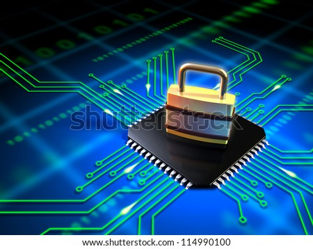 Safety lock standing on top of a microchip connected to a printed circuit board. Digital illustration. - stock photo
