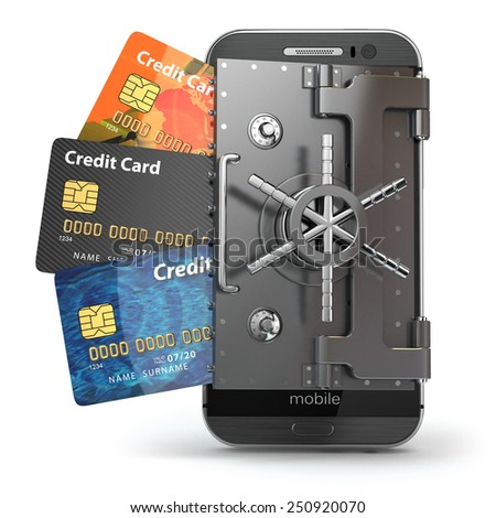 Safety of mobile banking concept. Secure online payment. Smartphone as vault and credit cards. 3d - stock photo