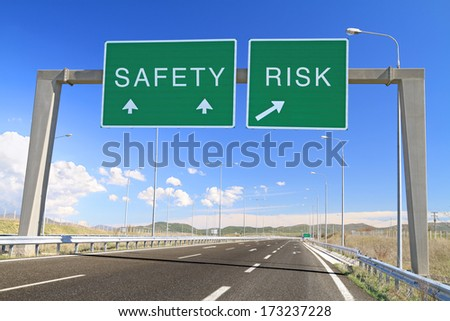 Safety or risk billboard on highway. Make a choice - stock photo