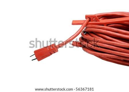 safety orange extension cord - stock photo