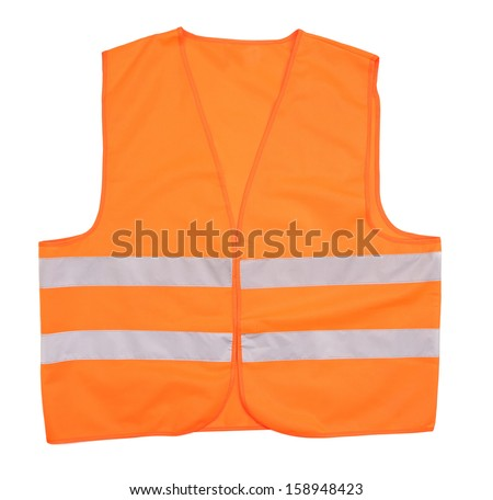 Safety orange vest. Isolated on a white background.