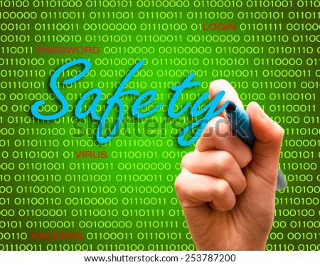 Safety password login virus hackers hand binary text - stock photo