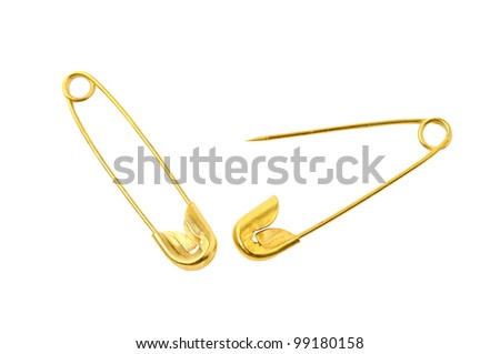 safety pin isolated on white background - stock photo