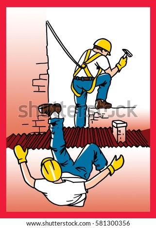 Safety Poster Use Safety Harness While Stock Illustration
