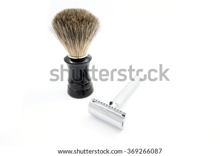 safety razor and shaving brush