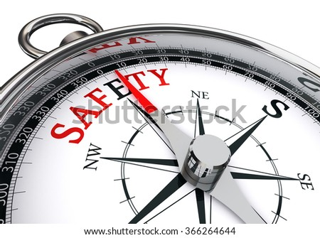safety red word on concept compass, isolated on white background - stock photo