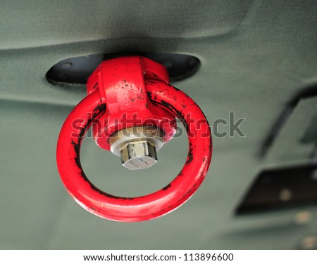 safety ring on helicopter roof - stock photo