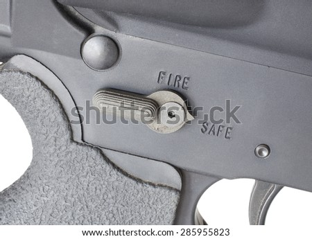 Safety selector on a modern sporting rifle in the safe position