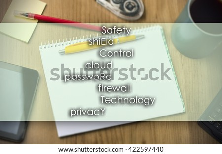 Safety shiEld Control cloUd passwoRd fIrewall Technology prIvacy SECURITY - business concept with text - horizontal image - stock photo