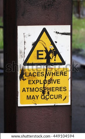 Safety sign for gas leak area warning of risk of explosion.