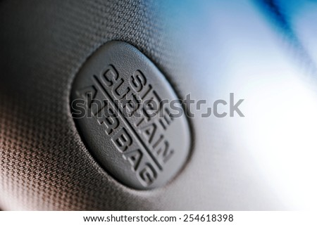 Safety sign of the airbag in the car - stock photo
