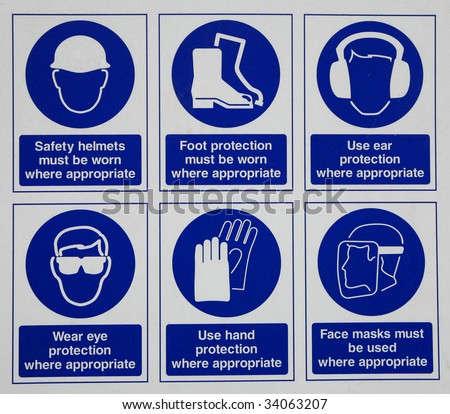 safety signs - stock photo