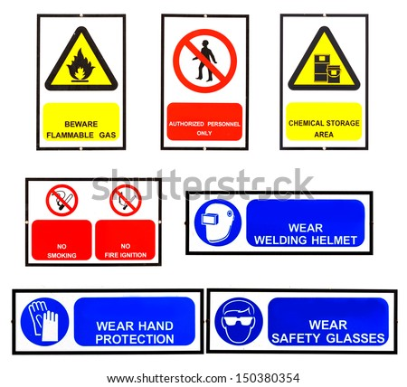 safety signs broad with clipping path - stock photo