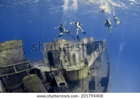 Safety Stop on the USS Kittiwake, Grand Cayman - stock photo
