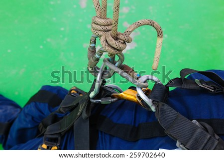 safety tool with double rigging. - stock photo