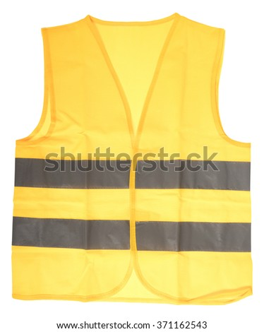 Safety vest in yellow with reflective stripes isolated over a white background / Safety vest