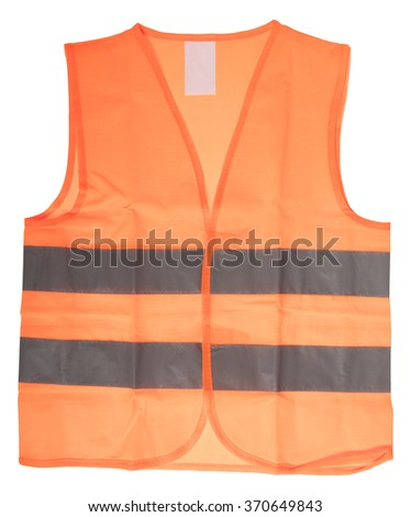 Safety vest with reflective stripes isolated over a white background / Safety vest
