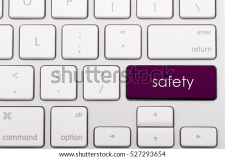 Safety word written on computer keyboard.